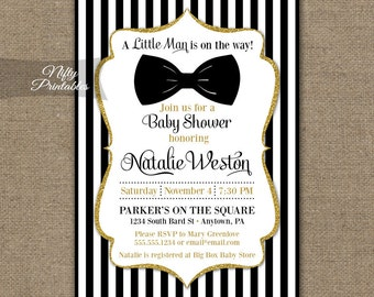 Bow Tie Baby Shower Invitations   Printable Black Gold Baby Shower Invites    Boy Bowtie Baby