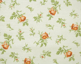 1950s Vintage Wallpaper by the Yard - Floral Wallpaper with Orange Rosebuds and Green Leaves on Cream