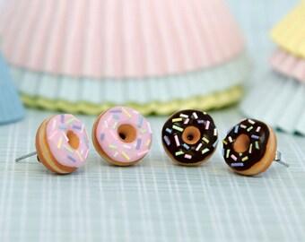 Pink Glazed Doughnut Earrings With Sprinkles, Donut Earrings