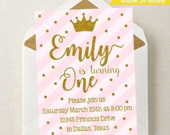Princess Birthday Invitation // Princess Party // Princess Invitation // ANY Age // Princess Invite // Custom Invitation // Pink and Gold