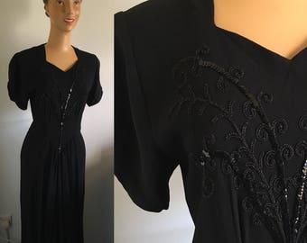 ORIGINAL 1940's Satin Backed Crepe Embellished Dress
