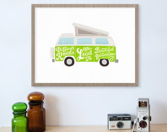 Difficult Roads Often Lead to Beautiful Destinations, Encouragement Gift, Uplifting Quote, VW Bus, Inspirational, Motivational, Hand Drawn