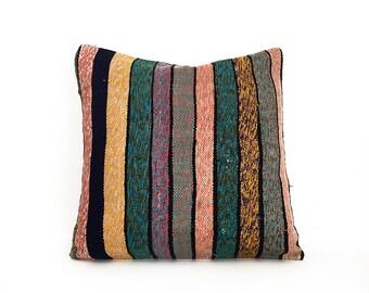 20''x20'' Kilim Pillow Cover Multicolor Decorative Pillows Cotton Cushion Cover Ethnic pillow Tribal Pillow Floor Pillow Throw Pillow Accent