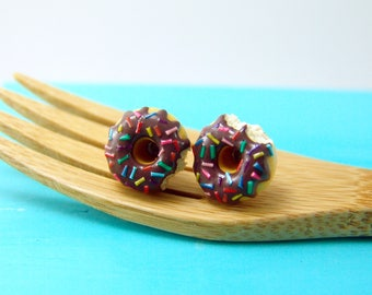 Food Earrings // Chocolate Donut Earrings with Rainbow Sprinkles // READY TO SHIP // Post Earrings