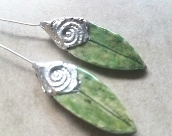 Ceramic Earrings Charms Pair with Decorative Tinwork - You Choose Metal Color - #a66
