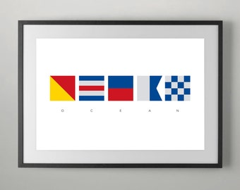 Ocean, Summer, International Maritime Signals, Alphabet Flags, Poster, Maritime Signal Flag, Typography , Instant Download, Home decor.