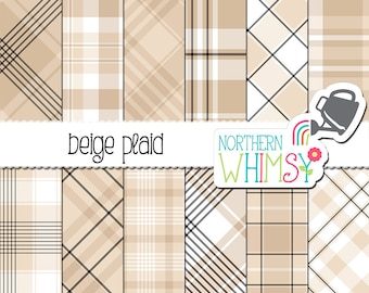 Beige Plaid Digital Paper - light neutral beige and taupe scrapbook paper for commercial use