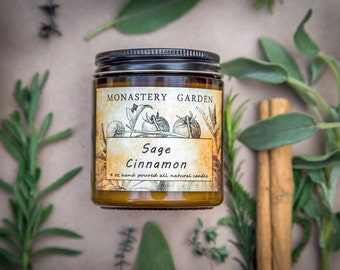 Soy candle SAGE CINNAMON, Scented candle, natural wax, vegan gift, 4 oz
