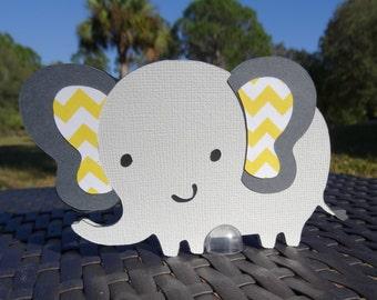 Set of 10 Gray and Yellow Elephants