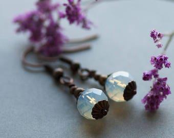 White Opal Earrings, Woodland Elvish Jewelry, Opal Jewelry, Gift for Her, Milky Opal Earrings