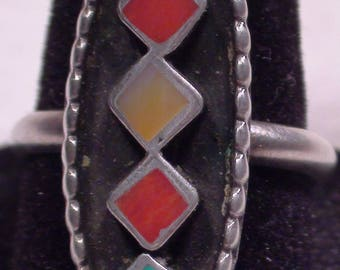 Native American Zuni Sterling Silver Turquoise Coral MOP Ring Size 8 Jimmie Etsate