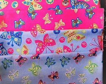 SET OF 4 FABRIC COTTON BUTTERFLIES PATCHWORK €6,00 COUPONS