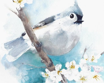 "Original watercolor painting tufted titmouse bird wall decor home decor 8x10"" handmade"