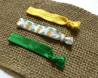 Pineapple Hair Tie Set | Elastic Hair Tie | Creaseless Hair Tie | Ponytail Holder Set | Pineapple Party Favor | Hair Tie Gift