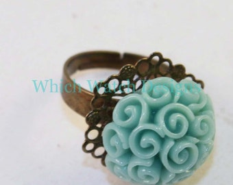 Gorgeous Resin Rose Bouquet Cluster Ring, Adjustable, Turquoise, Mint, Coral, Pink