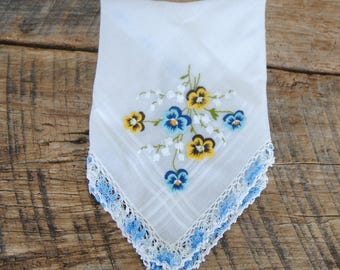 Vintage Hankie Pansies Lily of the Valley Crochet Edge