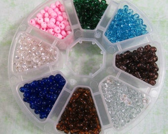 1 Glass Seed Beads Assorted Colors Kit Size 6/0 (B379a)