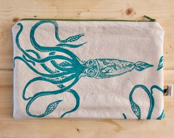 Organic canvas giant squid pencil case