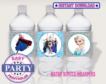 Frozen Instant Download water bottle wrappers easily print from home, party printables, girls birthday, frozen water bottle wrappers