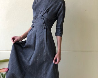 Vintage 1950's Dress / Stunningly Constructed Nipped Waist Dress / Gray with Specks  / Secretary Dress / Work Dress / Designer Look
