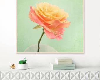 Vintage Rose Print, Still Life Photography, Pink and Mint Wall Art, Rose Photograph, printable wall art, Floral Decor, Flower Prints
