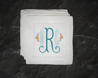 Monogrammed Linen Cocktail Napkins, Monogrammed Gifts for Her, Cocktail Napkins, Personalized Cocktail Napkins, Hemstitched Linen, Set of 4