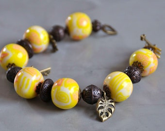 summer yellow and white Bracelet
