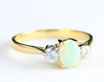 Opal and diamond 3 stone engagement ring handmade in rose/yellow/white gold or platinum for her