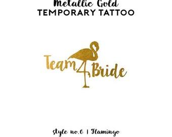 Flamingo Bachelorette Tattoos | Metallic Gold Temporary Tattoo, Beach Bachelorette Party Tattoo Favor, Pool Party Flamingo Team Bride Tattoo