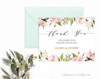 Printable wedding advice card well wishes template for peony thank you card template printable pink watercolor floral thank you card elegant wedding vistaprint diy pdf instant download 104 stopboris Gallery