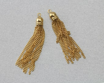 Gold Metal Tassel . Polished Gold Plated . 10 Pieces / T0010G-GD010
