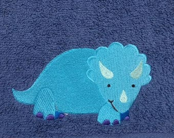 Triceratops Dinosaur  Personalised Embroidered Towels Free Name