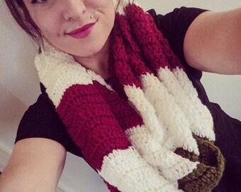 Ready to Ship - Crochet Wavy Christmas Infinity Scarf