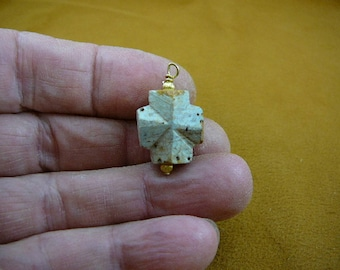 """3/4"""" large inch Fairy Stone cross gold wired pendant jewelry necklace CR502-58"""