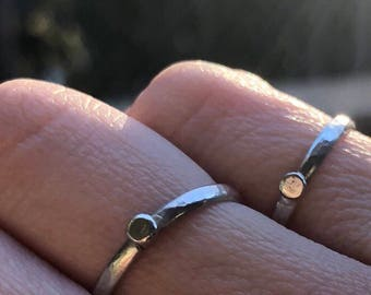 Essential Silver Stacker:  Hammered Silver Stacking Ring with Tiny Distressed Disc