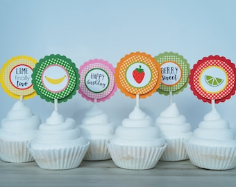 Tutti Fruitti Cupcake Topper - Twotti Fruity Cupcake Topper - Fruit Theme Cupcake Topper - Twotti Frutti Birthday - Tutti Frutti Party