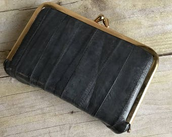 Vintage Leather Wallet - Gray - Gold - Grey