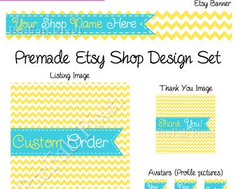 Sunny Etsy Cover Photo Set, Chevron Stripe Etsy Banner, Ribbon Etsy Banner, Yellow Etsy Banner, Stitch Shop Banner, Turquoise Banner