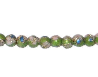 6mm Apple Green Round Cloisonne Bead, 10 beads