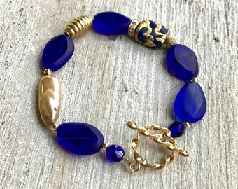 Cobalt Blue and Gold Boho Beaded Minimalist Bracelet For Her under 110,   Free Gift Wrap One of a Kind