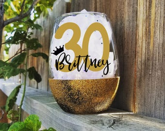 30th birthday glass, 30th wine glass, Dirty 30 gift, glitter wine glass, BFF Birthday, wine gifts, Birthday glass, Milestone wine glass