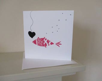 Pink Fish Valentines  Day Card - Handmade  - Fishing for Love - Hand Printed Linocut , Blank Card.