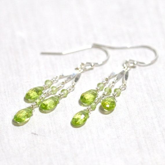 Peridot Earrings in Silver, August Birthday Gift, August birthstone Jewelry, Peridot Jewelry, Wife Gift, Peridot Silver earrings