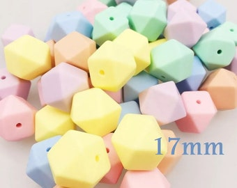 50-100 Silicone hex Beads 17mm Color Caramel-BULK silicone beads 50-100 Hexagonal 17mm candy Colors-50-100 Silikon Perlen