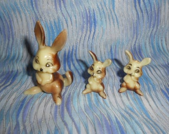 Mother Bunny and Her Two Baby Bunnies - Plastic - Vintage