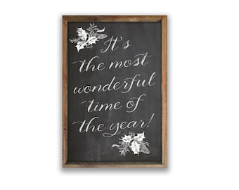 """It's the most wonderful time of the year 13.25""""x19.25""""x2"""" Christmas signs Christmas plaques holiday decor Christmas chalkboard Christmas art"""