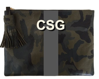 "Tassel 7""x10"" Clutch in Camouflage Leather"
