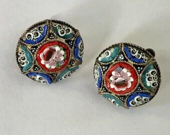 Vintage Micro Mosaic Glass Earrings - Screw Backs Estate Jewelry