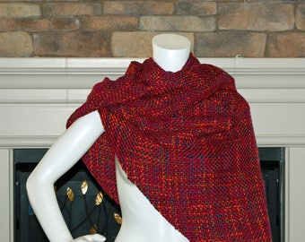 Burgundy shawl, handwoven wrap, wrap scarf, vegan shawl, women's wrap, triangle scarf, triangle shawl, wrap, vegan shawl, jewel tone scarf