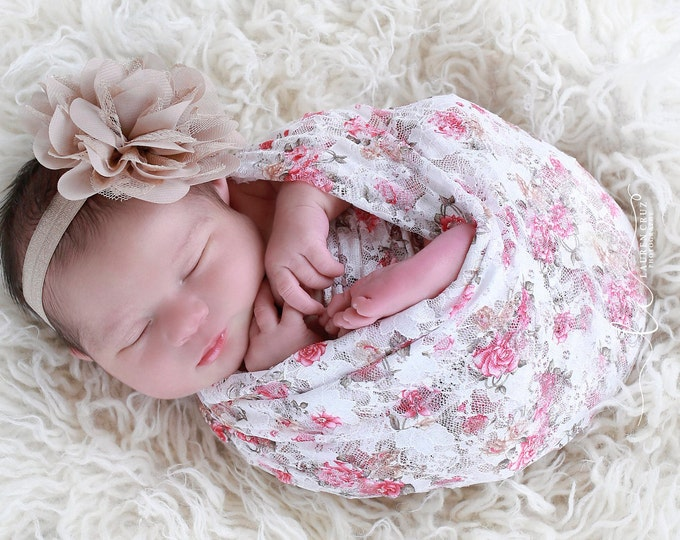 "Featured listing image: White Printed Floral Stretch Lace Swaddle Wrap AND/OR Chiffon and Lace 4"" Flower Headband, newborn photo shoots, Lil Miss Sweet Pea"
